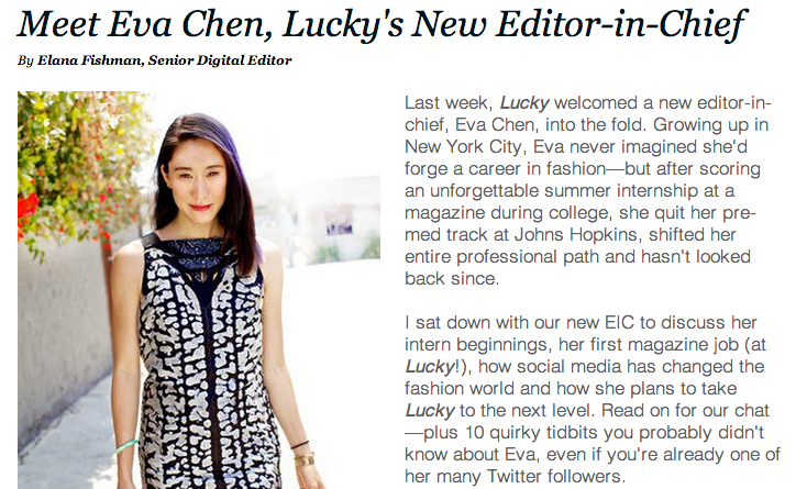 eva chen first interview as Lucky EIC