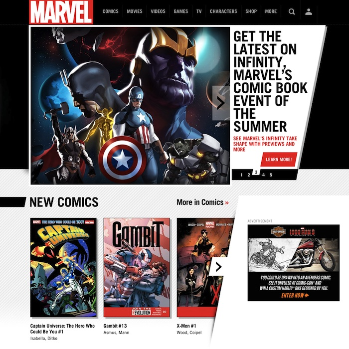 Matt worked on the rebrand of Marvel.com's homepage.